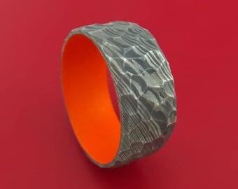Rock Hammer Damascus Steel Wide Band with Hunter Orange Cerakote Sleeve Custom Made Band