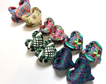 10 Mobius Heart beads with different caned patterns by Marie Segal pre-1998