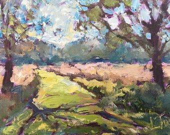 Path through the trees oil painting 5x7 impressionistic impasto style
