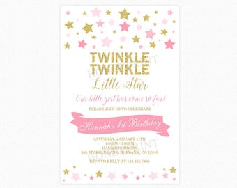 Twinkle Twinkle Little Star Birthday Invitation, 1st Birthday Invitation, Stars, Pink, Gold, Glitter, Printable or Printed