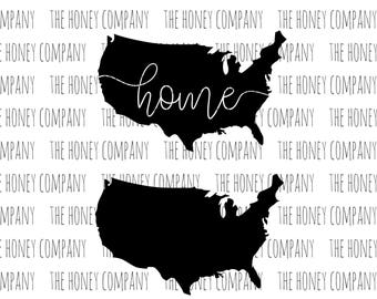United States of America SVG PNG DXF Home Instant Download Silhouette Cricut Files Vector File