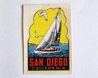 Original Vintage 1950's San Diego California Unused Luggage Decal! Rare!