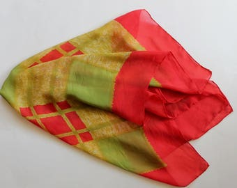 Vintage 1950s Red, Green, and Yellow Plaid Silk Scarf