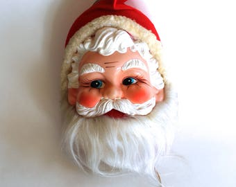 Vintage 1960s Santa Claus Musical Plush Head Hanging Decoration! Plays Jingle Bells! Mid Century Christmas!