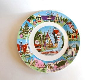 Vintage 1960's Santa's Village, Santa Cruz, CA Theme Park Souvenir Dish! Super Cute and Rare!