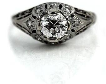 Antique Engagement Ring Art Deco Engagement Ring Old .80ctw European Cut Diamond Filigree Ethical 18kt WG Art Deco Diamond Wedding Ring