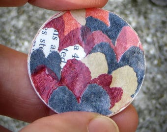 Art Gift. One-of-a kind Collage Coin. Wings like golden lichen