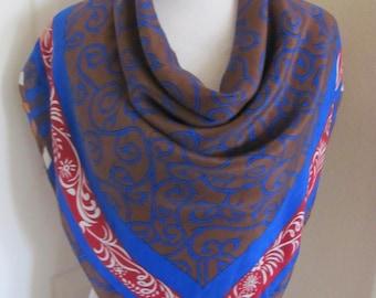 "Ellen Tracy // Large Brown Blue Soft Silk Scarf // 33"" Inch 85cm Square"
