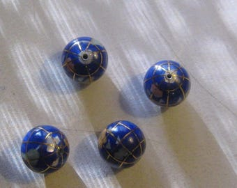 NEW Wholesale Lot Of  4-12MM  Lapis Gold Color  Inlay Gemstone Beads