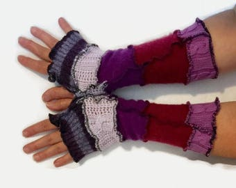 Upcycled fingerless gloves Purple Pink  arm warmers recycled wristwarmers stripe knit fingerless mittens  Gift for Her