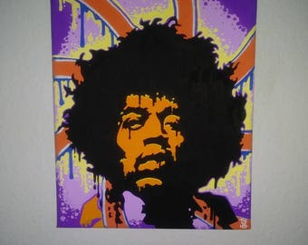 Jimi Hendrix 8x10 Acrylic Paint Markers on Canvas