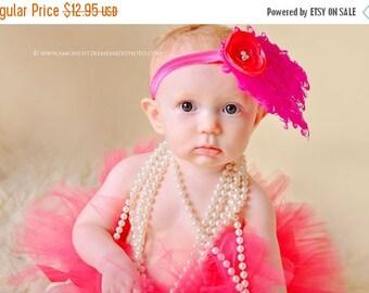 ON SALE Hot PInk Feather Pad Headband, newborn headband, newborn photography prop, photography prop, girl headband