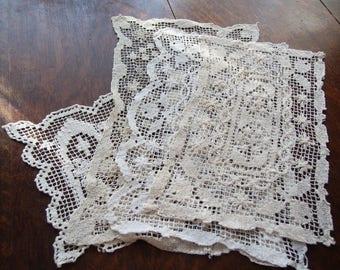 Handmade Lace Doilies Doily Lot of 4 Sicilian Net Lace Vintage