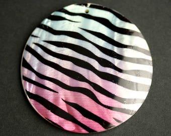 60mm Round Shell Pendant. Blue and Pink Zebra Print Pendant. Domed Seashell Pendant.
