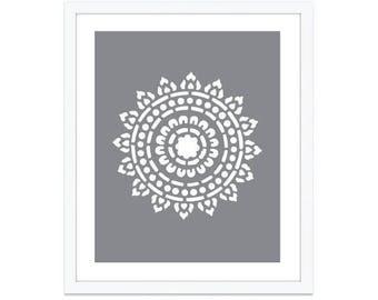 Mandala Art Print - Mandala Wall Art -  Medallion Art Print - Medallion Wall Art - 8x10 on 8.5x11 - custom color - aldariart