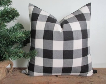 Pillow Cover Buffalo Plaid Black and White Both Sides Zipper Opening New F/W 2017