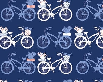 Tonal Blue White and Coral Bicycle Jersey Knit Fabric, InBlue by Katarina Roccella for Art Gallery Fabrics, Fietsen Intense, 1 Yard KNIT