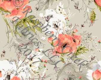 Peach Beige and Green Large Fall Floral in Rayon Challis, 1 Yard