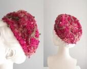 "R E S E R V E D """" 1960s Christian Dior Hat Fuchsia Pink & Green knit Pillbox beaded beehive Toque Cloche Turban"
