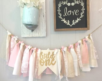 Wild One Banner Wild One Birthday Girl Boho Tribal Highchair Banner First Birthday 1st Pink and Gold Lace Smash Cake Banner Minnie Mouse