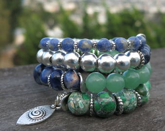 Shades of Green and Blue Memory Wire Bracelet