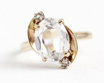 Created Spinel Ring - 10k Rosy Yellow Gold Oval White Synthetic 2 + Carat Three Stone - 1950s Size 5 1/4 Retro Statement 50s Fine Jewelry