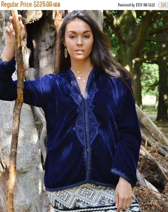 Autumn Dress 25% OFF SALE Christmas Gifts-New Winter Blue Velvet Luxury Coat Jacket with Embroidery-Ranae-boho wear, birthday gifts, winter