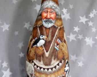 """Lovin' Alaska, Santa Claus, unique gourd art, tall, hand painted, 15"""" tall x 6"""" wide x 7"""" deep"""