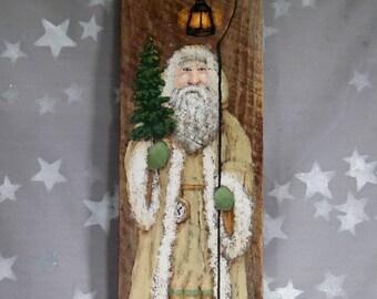 """Vanilla Suited Santa, St. Nick, large hand painted on Ozarks barnwood, original art, 5 1/4"""" x 17 1/2"""""""