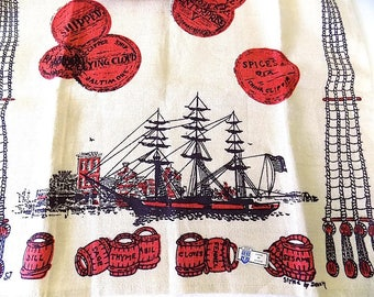 Belgian Linen Bar Towel by Dewan of Clipper Ships and the Spice Trade NOS