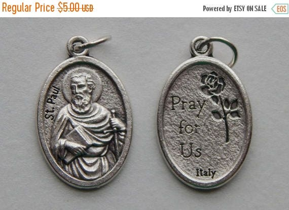 CLOSING SALE 5 Patron Saint Medal Findings - St. Paul, Apostle, Die Cast Silverplate, Silver Color, Oxidized Metal, Made in Italy, Charm, Dr