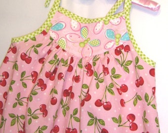 Little Girls Sundress with Red Cherries on Pink with White Dots and Butterflies on Pink