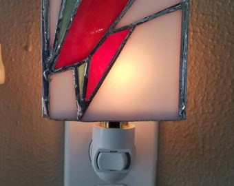 Hand-made stained glass Bowie night light