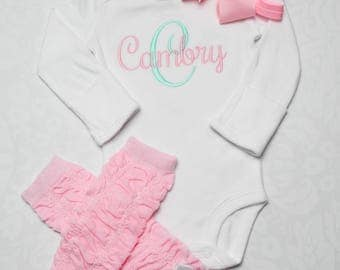 Newborn Girl Coming Home Outfit Baby Girl Clothes Newborn Girl Clothes Baby Girl Gift Monogrammed Baby Girl Outfit Baby Girl Leg Warmers