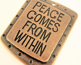 PEACE pendant antique bronze inspirational words peace comes from within