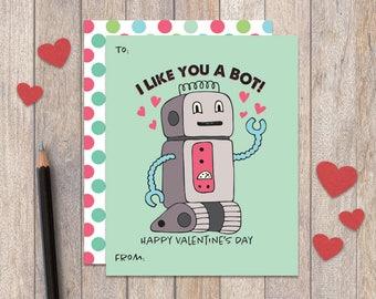 Printable Kids Valentine Cards, Printable Valentine Cards, Robot Classroom Valentines Card, Kids Valentines Day Cards, Valentines for School