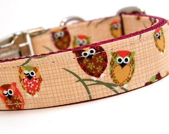 Handmade Dog Collar - What a Hoot - Forest Critters - Forrest Dog Collar with Owls - Cute Dog Collar with gingham
