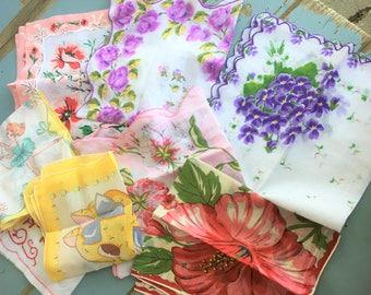 Vintage Handkerchief Lot of 8 Kitten Ballerina Hibiscus Violets Outstanding!