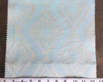 Custom Curtains Valance Roman Shade Shower Curtains in Light Aqua Diamond Pattern Fabric