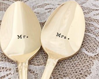 """GOLD Mr. & Mrs. spoons, vintage wedding """"Fredericksburg"""", hand stamped"""