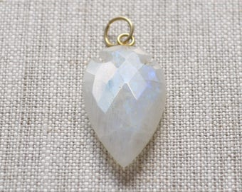 Large Moonstone Arrowhead Pendant, Gold Plated Bail with Ring, Real Gemstone, Faceted White Rainbow Moon Stone, 36mm to 20mm, One Pendant