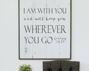 I Am With You Sign, Scripture Sign, Bible Verse Sign, Rustic Wall Decor, Farmhouse Sign, Thanksgiving Sign