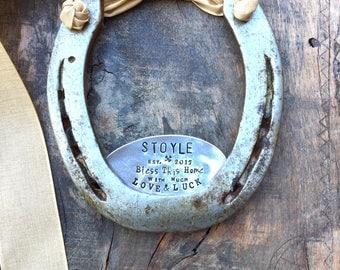 SHAMROCK Love & Luck Horseshoe™ The Traditional Symbol of Good Luck. Welcome Door Plaque. Rustic Wall Decor. Original Design. Wall Hanging