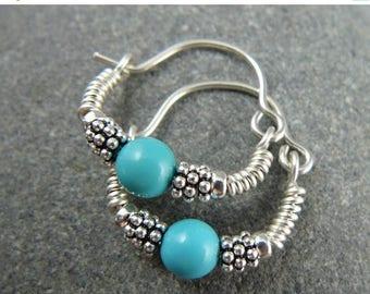 LATE SHIP SALE Turquoise Hoop Earrings, Sterling Silver, Turquoise Hoops, Small Silver Hoop Earrings, Small Hoop Earrings, Turquoise Earring