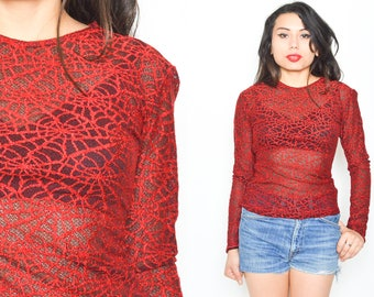 RED SPIDER WEB Mesh Long Sleeve Sheer Top. Round Neck. 1990's Grunge Mod Witchy. Size S/M. Black Red Sheer Textured Top