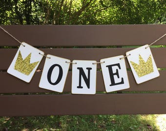 ONE Birthday banner, wild ONE, first birthday, where the wild things are, black and gold, photo prop, smash cake banner, high chair, crown