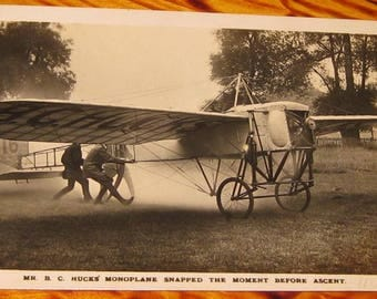 B.C. Hucks Monoplane Snapped the Moment Before Accent Real Photo Postcard rppc