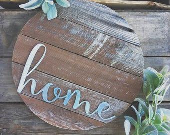 "16""  { home } Barnwood Round Galvanized Metal Home Decor Sign Farmhouse Style"