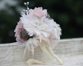 Fabric Bouquet Tutorial, Fabric Flower Bouquet, Feather Flower Bouquet, Feather Flower Tutorial, Fabric Flower Tutorial, Bouquet Tutorial