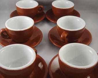 Espresso Cups and Saucers Set of Six Point Italy Brown White